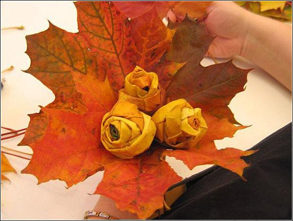 Поделка из осенних листьев своими руками мастер